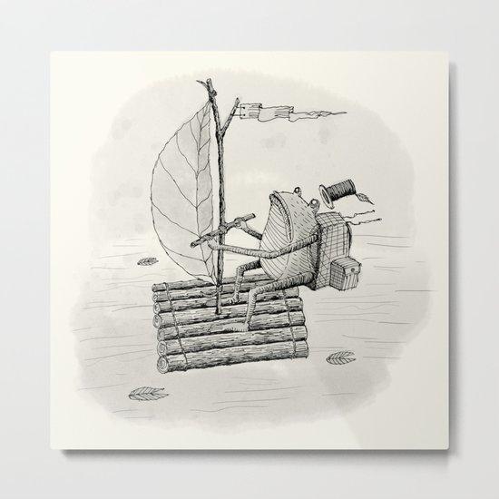 'Raft' (Grey) Metal Print