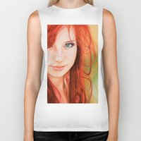 redhead Biker Tanks featuring Redhead Girl by Samuel Silva