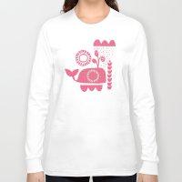 folk Long Sleeve T-shirts featuring folk whale by ottomanbrim