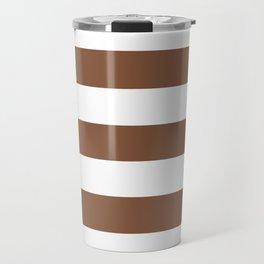 Milk chocolate - solid color - white stripes pattern Travel Mug