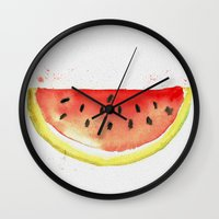 watermelon Wall Clocks featuring watermelon  by Soso Creation