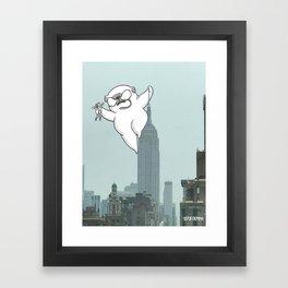 Pug kong, Mochi the pug taking New York Framed Art Print