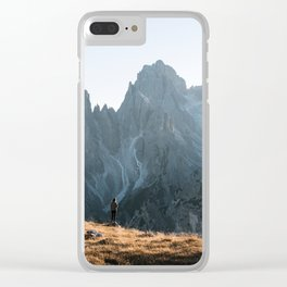 Dolomites mountain range in italy with hiker sunset - Landscape Photography Clear iPhone Case
