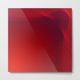 Greeting card of red lines made of smoke on a claret background. Metal Print