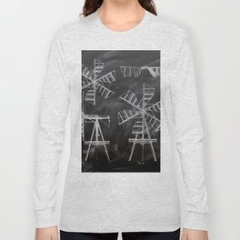 steampunk western country chalkboard art agriculture farm windmill patent print Long Sleeve T-shirt