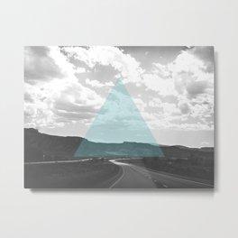 Geo Trip Cyan Metal Print