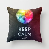 keep calm Throw Pillows featuring Keep Calm by Michael Flarup