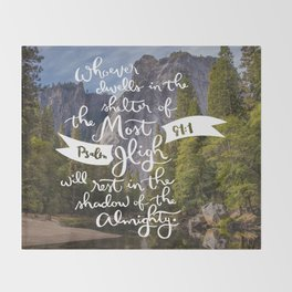 Psalm 91 with Background Throw Blanket