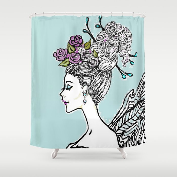Wedding Princess Hair with Roses Shower Curtain