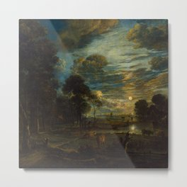 Classical Masterpiece 'Night Landscape with a River' by Aert van der Neer Metal Print