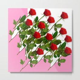 RED LONG STEMMED ROSES & PINK COLOR Metal Print