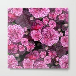 Pink romantic roses on black backgound Metal Print