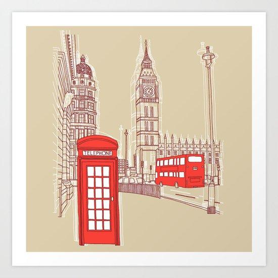 City Life // London Red Telephone Box Art Print