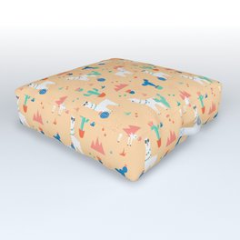 Summer Llamas Outdoor Floor Cushion