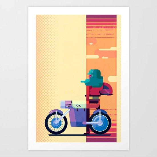 Sunset Biker Art Print