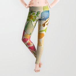 Rainbow of Flowers - Watercolor Floral Painting Leggings
