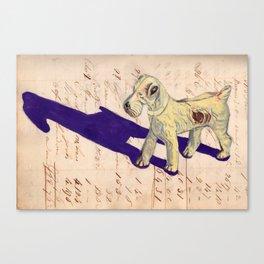 Vintage Celluloid Fox Terrier in Gouache Canvas Print