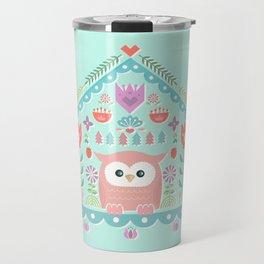 Scandinavian Folk Style Owl Bird House Travel Mug