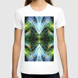 Blue Green Bright Rays,Fractal Art T-shirt