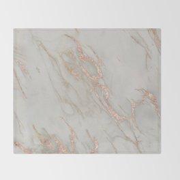 Marble - Rose Gold Marble Metallic Blush Pink Throw Blanket