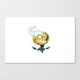 Flaming Pumpkin Head Canvas Print