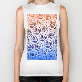 rose pattern texture abstract background in pink and blue Biker Tank