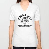 wrestling V-neck T-shirts featuring Tiger's cave wrestling school by CarloJ1956