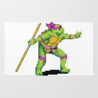 teenage mutant ninja turtles Area & Throw Rugs featuring Pixelated Teenage Mutant Ninja Turtles (TMNT) - Donatello by Katadd