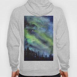Galaxy Nebula Watercolor Northern Lights Aurora Borealis Hoody