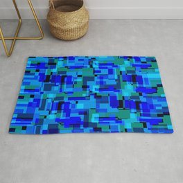 Bright tile of light blue intersecting rectangles and luminous bricks. Rug