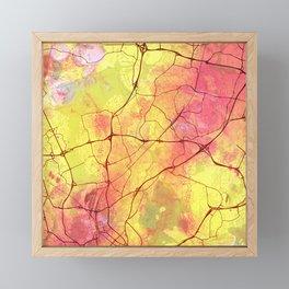 Helsinki Finland Street Map Yellow Planet Framed Mini Art Print