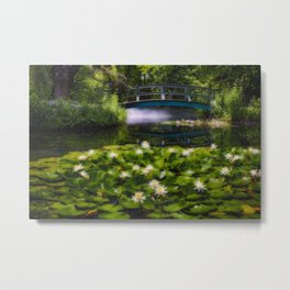 Lily Pond with a Footbridge Metal Print