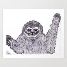Three-toed Sloth Art Print