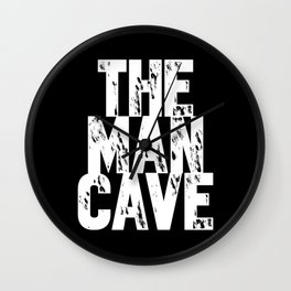 The Man Cave (white text on black) Wall Clock