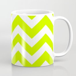 Electric lime - green color - Zigzag Chevron Pattern Coffee Mug