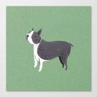 boston terrier Canvas Prints featuring Boston Terrier by Emma Block
