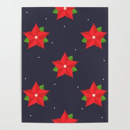 Poinsettia Christmas Pattern Poster