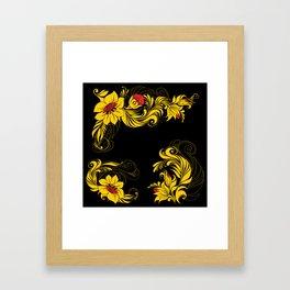 Golden floral ornament Framed Art Print