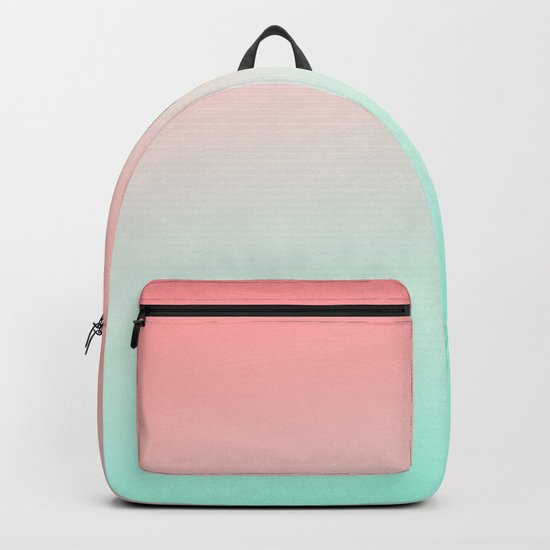 Ombre gradient digital illustration coral green colors Backpack