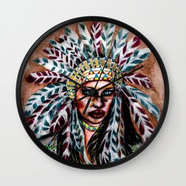 Lumbee Woman - Indian Native American Wall Clock