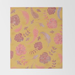 Paradise Patterns - Yellow & Coral Throw Blanket