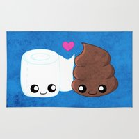 toilet Area & Throw Rugs featuring The Best of Friends - Toilet Paper and Poop by Whitney Lynn Art