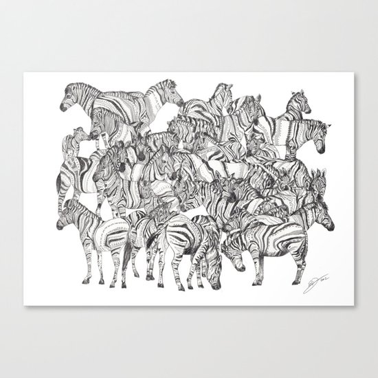 Zebras // Graphite Canvas Print