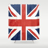 union jack Shower Curtains featuring Union Jack by Laura Ruth
