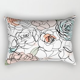 Inky Camellias Rectangular Pillow
