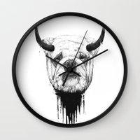 bulldog Wall Clocks featuring Bulldog by Balazs Solti