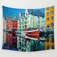 norway Wall Tapestries featuring The Reflection Of Norway by LiliyaChernaya