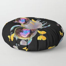 SURREAL GOLDEN YELLOW BUTTERFLIES  & SOAP BUBBLES Floor Pillow