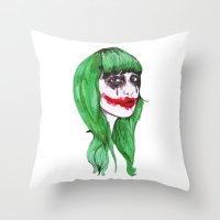 joker Throw Pillows featuring Joker by Annaleigh Louise