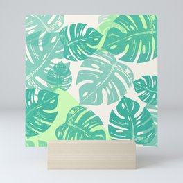 Linocut Monstera Green Mini Art Print